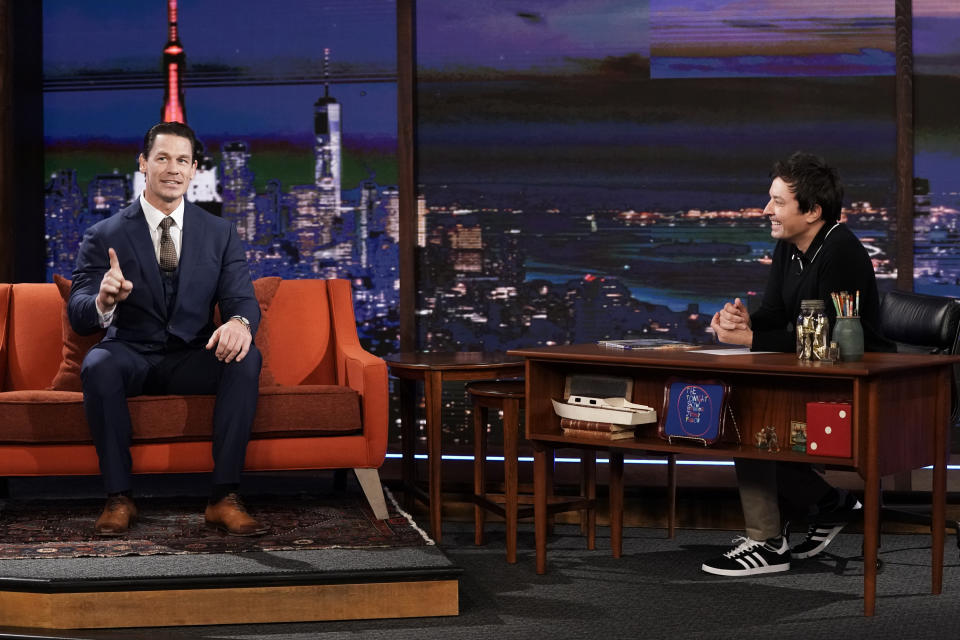 THE TONIGHT SHOW STARRING JIMMY FALLON -- Episode 1327A -- Pictured: (l-r) Actor John Cena during an interview with host Jimmy Fallon on September 29, 2020 -- (Photo by: Andrew Lipovsky/NBC/NBCU Photo Bank via Getty Images)