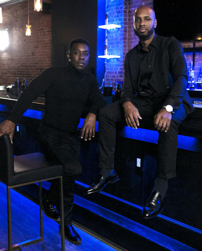 Charles Hughes, left, and Richard Solomon, owners of Lambda Lounge, one of two Black-owned gay bars remaining in NYC. (Lemon Brands)