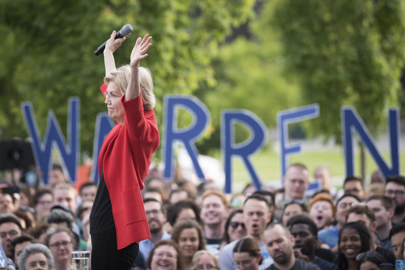 Democratic presidential candidate Sen. Elizabeth Warren, D-Mass., addresses a campaign rally at George Mason University in Fairfax, Thursday, May 16, 2019. (AP Photo/Cliff Owen)
