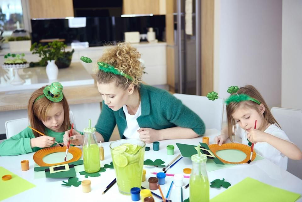"""<p>Want to make your own gorgeous green and gold <a href=""""http://www.countryliving.com/diy-crafts/how-to/g4036/st-patricks-day-decorations/"""" rel=""""nofollow noopener"""" target=""""_blank"""" data-ylk=""""slk:St. Patrick's Day decorations"""" class=""""link rapid-noclick-resp"""">St. Patrick's Day decorations</a>? In search of easy St. Patrick's Day crafts for kids? Lucky you! These easy projects will look adorable on display in your home and keep both kids and adults entertained and in crafting bliss. There are ideas here for all skill levels, from beginner to the semi-professional. Whether you're looking for a quick, easy craft like printable lunch box jokes to brighten your child's day, or an elegant DIY shamrock wreath to hang on your door this is something is this gallery for all types. <br></p><p>After playing some great <a href=""""https://www.countryliving.com/entertaining/g26234489/st-patricks-day-games/"""" rel=""""nofollow noopener"""" target=""""_blank"""" data-ylk=""""slk:St. Patrick's Day games"""" class=""""link rapid-noclick-resp"""">St. Patrick's Day games</a> with the little ones, head to the craft closet and keep the family fun rolling. Try your hand at a leprechaun stick puppet or forming a 4-leaf clover pin out of oven-baked clay. If you're looking for crafts to decorate your home, the shamrock shadow box and shamrock Mason jars will be sure to add the desired flair and make all your rooms showstopping ready for March 17. In addition to the delicious <a href=""""https://www.countryliving.com/food-drinks/g2251/st-patricks-day-recipes/"""" rel=""""nofollow noopener"""" target=""""_blank"""" data-ylk=""""slk:St. Patrick's Day recipes"""" class=""""link rapid-noclick-resp"""">St. Patrick's Day recipes</a> you've made for your party or your child's class, these adorable crafts will get you in the St. Patrick's Day mood in no time. Whether you're attending a <a href=""""https://www.countryliving.com/life/g26240477/st-patricks-day-events/"""" rel=""""nofollow noopener"""" target=""""_blank"""" data-ylk=""""slk:St. Patrick's Day event"""" class=""""link rapid-n"""
