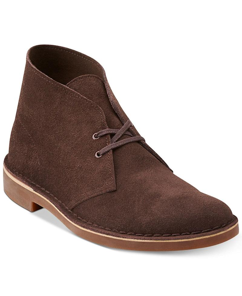 """My S/O just snagged a pair of these perfect fall boots and he's hooked. They're light-weight, fashionable, comfortable and look good with any and everything. Better yet, <a href=""""https://www.macys.com/shop/product/clarks-mens-bushacre-2-chukka-boot?ID=579294"""" target=""""_blank"""">they're on sale right now</a>."""