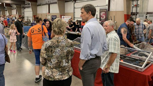 PHOTO: Beto O'Rourke walks around a gun show in Conway, Arkansas on August 17. (Jeffrey Cook/ABC News)