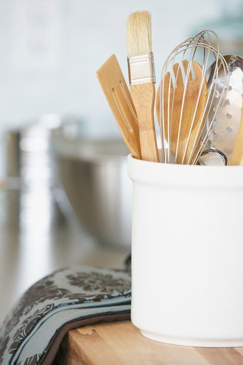 "<p>These basic tools should be corralled on your counter, but the good news: They don't have to be expensive. ""I have whisks and measuring spoons all from a restaurant supply place — they shouldn't be fancy,"" says Garten.</p>"