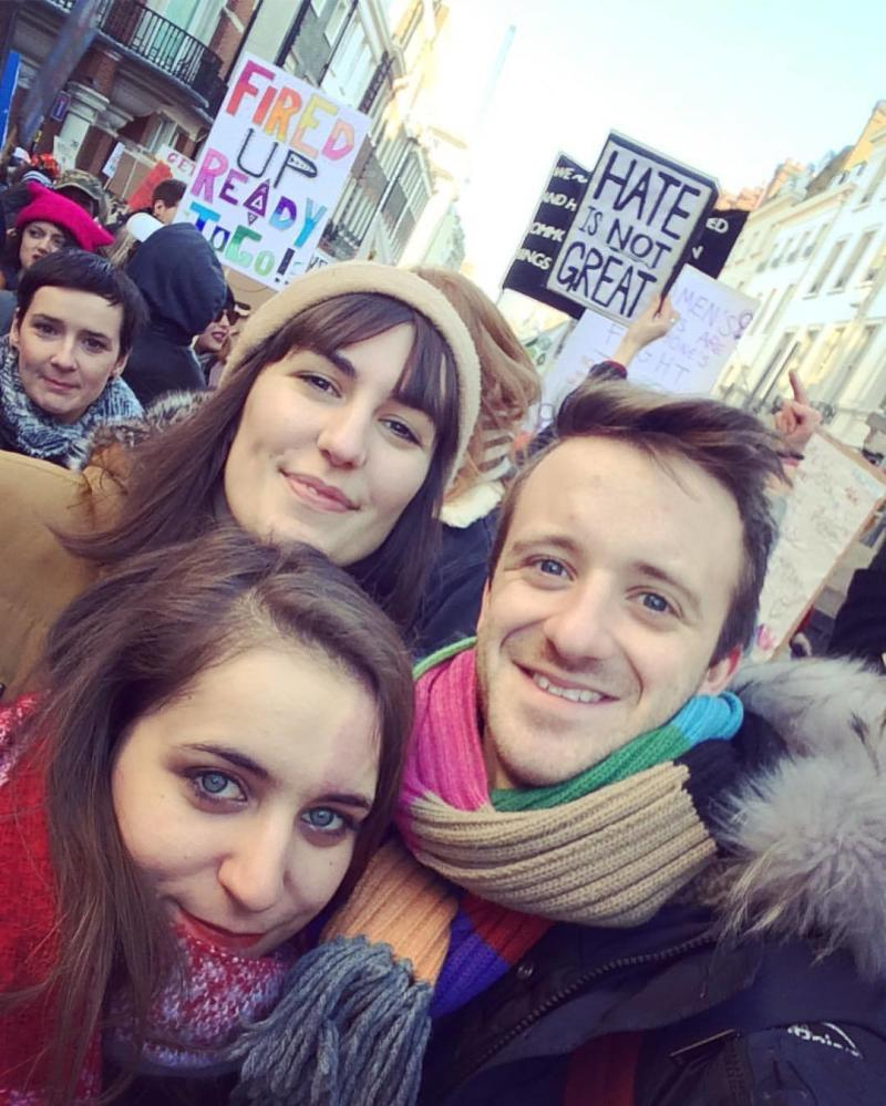 At the Women's March with friends