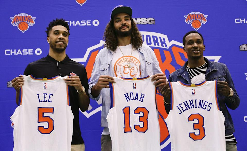 Courtney Lee (left) Joakim Noah (center) and Brandon Jennings will be counted on to lift the Knicks back to the playoffs. (AP)