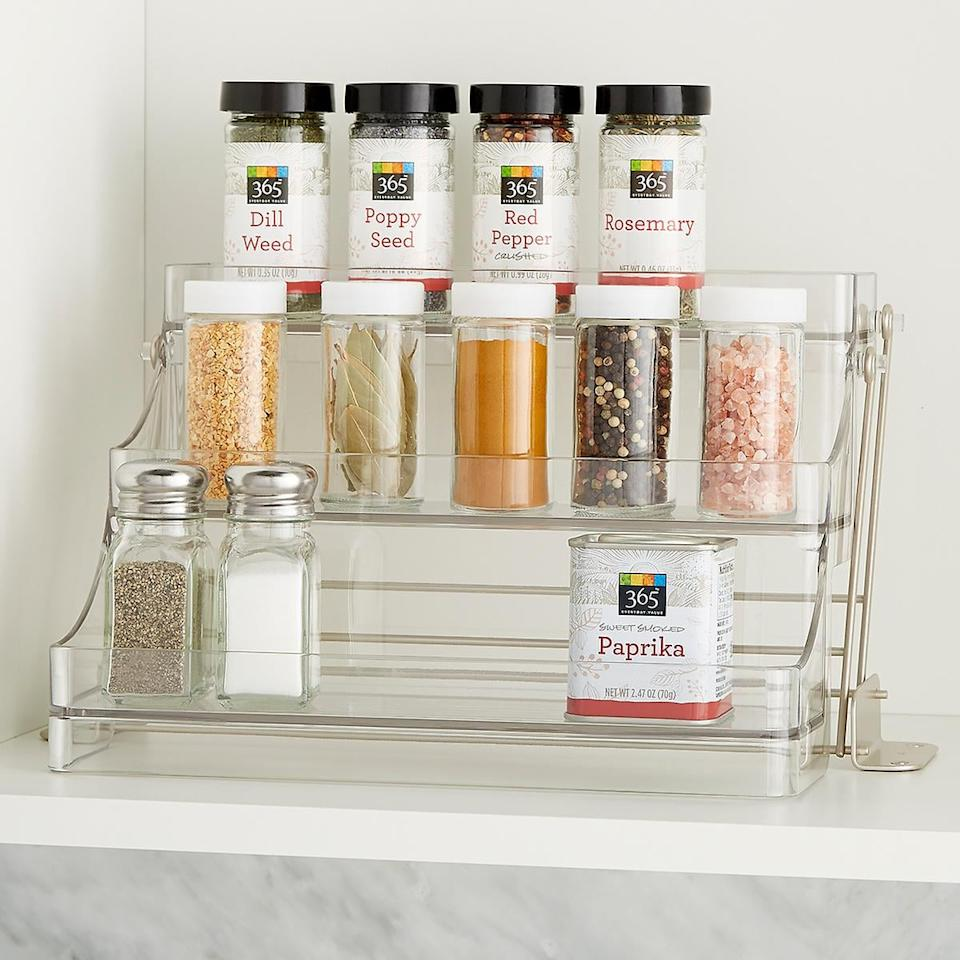 """<p>This <a href=""""https://www.popsugar.com/buy/InterDesign-Linus-Easy-Reach-Spice-Rack-486006?p_name=InterDesign%20Linus%20Easy-Reach%20Spice%20Rack&retailer=containerstore.com&pid=486006&price=30&evar1=casa%3Aus&evar9=46562790&evar98=https%3A%2F%2Fwww.popsugar.com%2Fhome%2Fphoto-gallery%2F46562790%2Fimage%2F46563055%2FInterDesign-Linus-Easy-Reach-Spice-Rack&list1=shopping%2Corganization%2Ckitchen%20organization%2Ckitchens%2Chome%20organization%2Chome%20shopping&prop13=mobile&pdata=1"""" rel=""""nofollow"""" data-shoppable-link=""""1"""" target=""""_blank"""" class=""""ga-track"""" data-ga-category=""""Related"""" data-ga-label=""""https://www.containerstore.com/s/interdesign-linus-easy-reach-spice-rack/d?q=cabinet%20organizer&amp;productId=11007559"""" data-ga-action=""""In-Line Links"""">InterDesign Linus Easy-Reach Spice Rack</a> ($30) features three pull out tabs that are easy to use.</p>"""