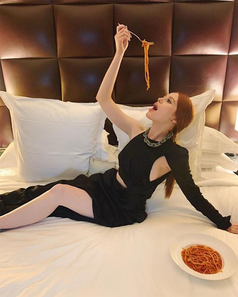 I, too, sit on white linen in red carpet attire whilst eating spaghetti. Don't you?