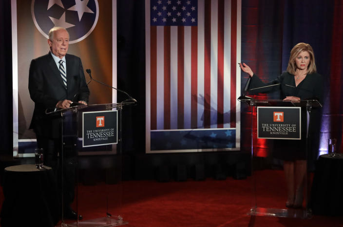 Former Tennessee Gov. Phil Bredesen and Rep. Marsha Blackburn during the 2018 Tennessee U.S. Senate Debate at the University of Tennessee on Oct. 10 in Knoxville, Tenn. (Photo: Mark Humphrey/Pool/AP)