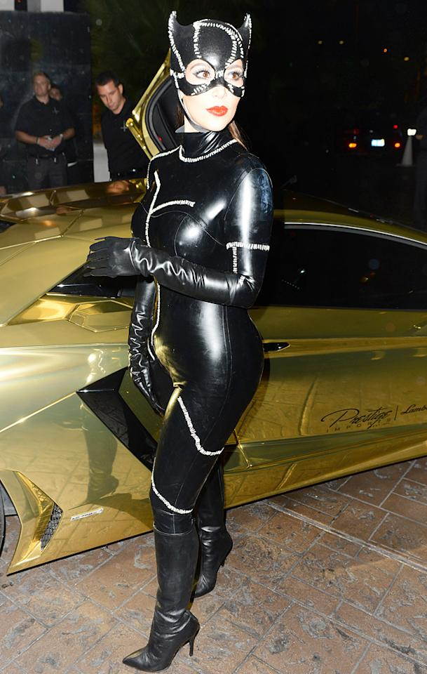 October 31, 2012: The Kardashian clan, and friends are seen arriving to Kim's Halloween birthday bash today in Miami, Florida. The crew were dressed up as Batman characters. Pictured here: Kim Kardashian.