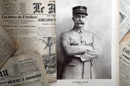 """A portrait of French General Philippe Petain, published in the French newspaper ''L'Illustration"""" on August 4, 1917, is seen in this picture illustration taken November 8, 2018.  REUTERS/Charles Platiau/Illustration"""