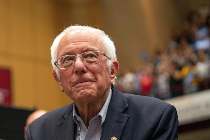 Bernie Sanders, I Vt., arrives at a campaign rally Monday, March 2, 2020, in St. Paul, Minn. (AP Photo:Andy Clayton King)