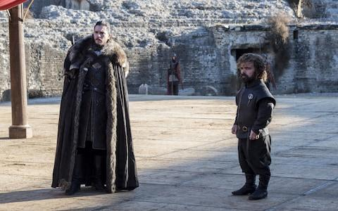 Jon Snow and Tyrion in the Dragonpit - Credit: HBO