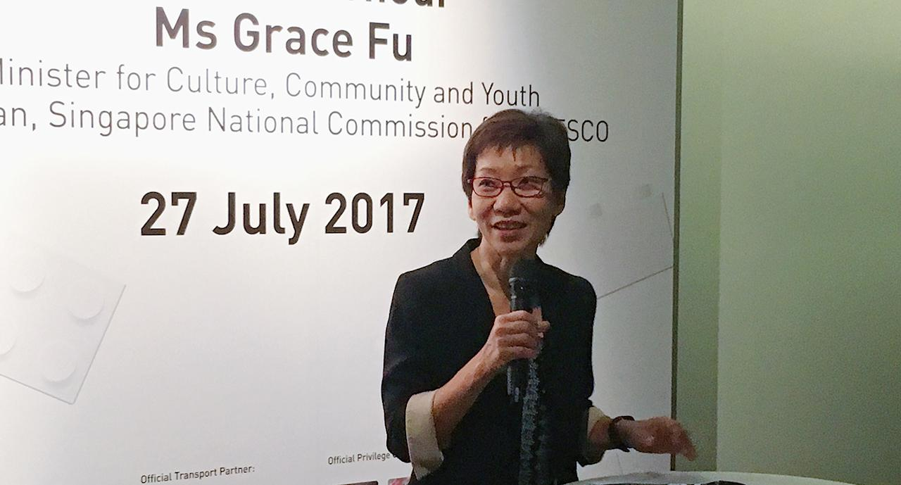 <p>Guest-of-honour Ms Grace Fu giving her opening address. (Photo: Gabriel Choo/ Yahoo Lifestyle Singapore) </p>