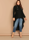 """<p><strong>Shein</strong></p><p>shein.com</p><p><strong>$19.00</strong></p><p><a href=""""https://go.redirectingat.com?id=74968X1596630&url=https%3A%2F%2Fus.shein.com%2FPlus-Mock-neck-Double-Breasted-Detail-Dip-Hem-Top-p-663085-cat-1891.html&sref=https%3A%2F%2Fwww.goodhousekeeping.com%2Fholidays%2Fthanksgiving-ideas%2Fg22728910%2Fthanksgiving-outfits%2F"""" rel=""""nofollow noopener"""" target=""""_blank"""" data-ylk=""""slk:Shop Now"""" class=""""link rapid-noclick-resp"""">Shop Now</a></p><p>Dress it down with jeans or up with dress pants, either way you're about to get a ton of compliments on this unique top. </p>"""