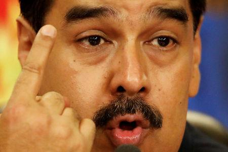 FILE PHOTO: Venezuela's President Maduro talks to the media during a news conference in Caracas