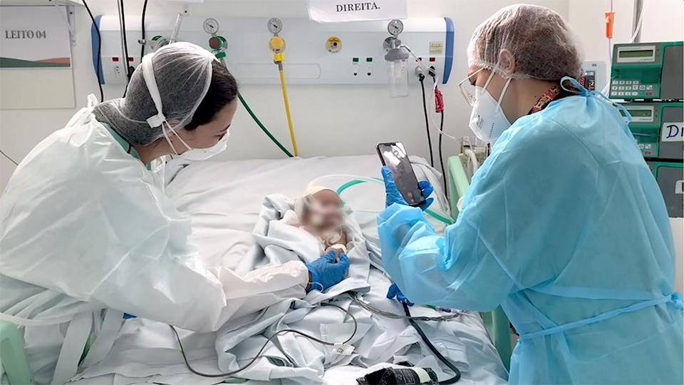 A baby being treated in Covid ICU