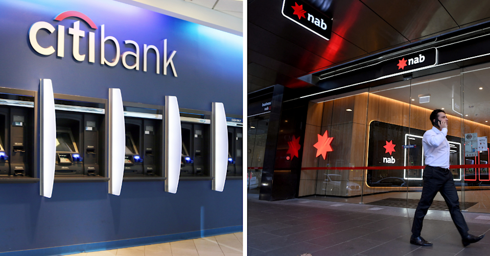 Multiple Citibank ATMs in a row and a man walking past an NAB branch.