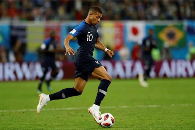 Kylian Mbappe of France in action during the 2018 FIFA World Cup Russia semi final match between France and Belgium. (Getty Images)