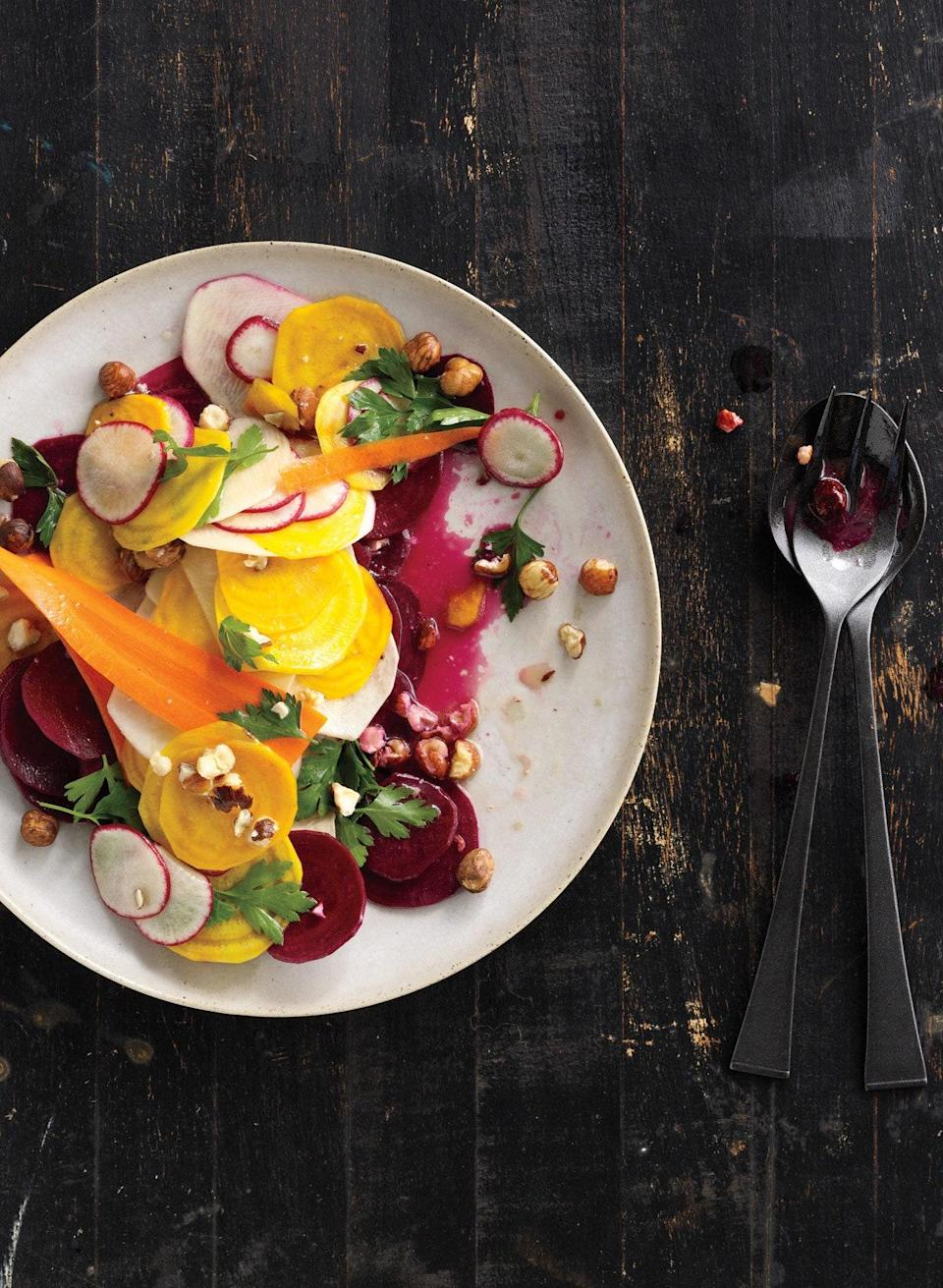 """And mix of root vegetables will work wonderfully in this hazelnut vinaigrette–dressed salad. <a href=""""https://www.epicurious.com/recipes/food/views/shaved-root-vegetable-salad-368266?mbid=synd_yahoo_rss"""" rel=""""nofollow noopener"""" target=""""_blank"""" data-ylk=""""slk:See recipe."""" class=""""link rapid-noclick-resp"""">See recipe.</a>"""