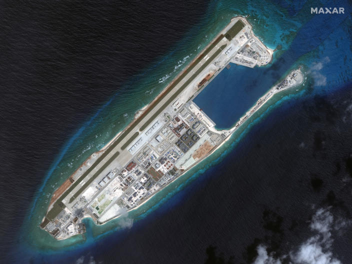 This March 2017 image provided by Maxar Technologies shows a satellite image of Fiery Cross Reef in Spratly island chain in the South China Sea. (Satellite image ©2019 Maxar Technologies via AP)