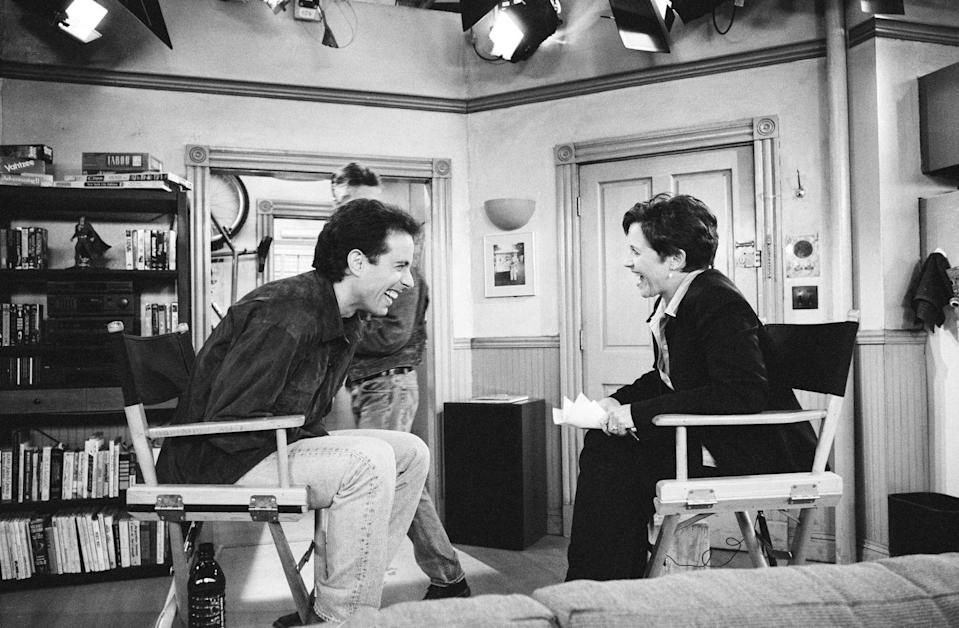 """<p><em>Today</em> cohost Katie Couric interviewed Seinfeld on the set during the last few days of filming. About <a href=""""https://www.mentalfloss.com/article/544008/facts-about-seinfeld-the-finale"""" rel=""""nofollow noopener"""" target=""""_blank"""" data-ylk=""""slk:76.3 million people"""" class=""""link rapid-noclick-resp"""">76.3 million people</a> tuned in for the finale.</p>"""
