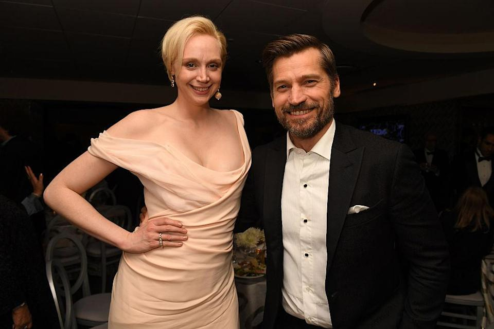 BEVERLY HILLS, CA – JANUARY 08: Actors Gwendoline Christie and Nikolaj Coster-Waldau attend HBO's Official Golden Globe Awards After Party at Circa 55 Restaurant on January 8, 2017 in Beverly Hills, California. (Photo by Jeff Kravitz/FilmMagic for HBO)