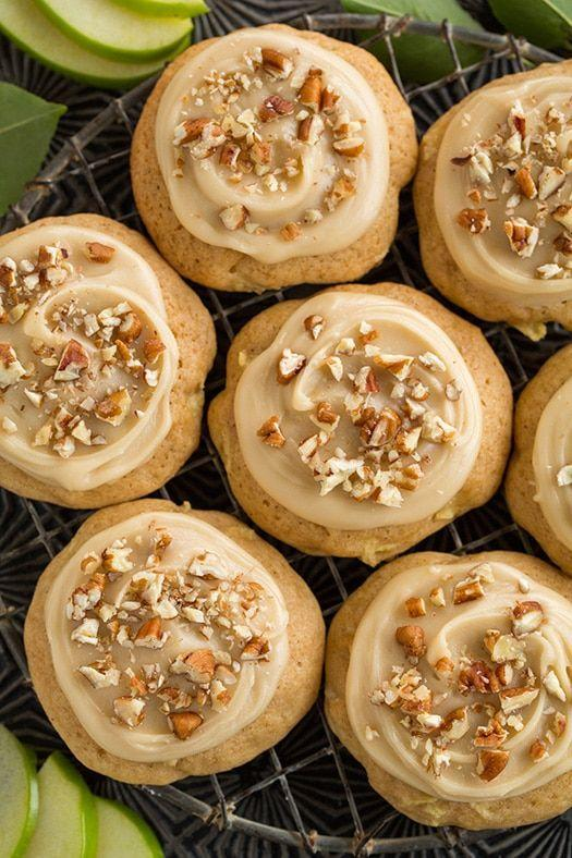 """<p>These tasty treats get their flavor from tart granny smith apples and warm spices. Not to mention the sweet, toffee-like caramel frosting on top! </p><p><strong>Get the recipe at <a href=""""https://www.cookingclassy.com/caramel-apple-cookies/"""" rel=""""nofollow noopener"""" target=""""_blank"""" data-ylk=""""slk:Cooking Classy"""" class=""""link rapid-noclick-resp"""">Cooking Classy</a>. </strong></p><p><a class=""""link rapid-noclick-resp"""" href=""""https://go.redirectingat.com?id=74968X1596630&url=https%3A%2F%2Fwww.walmart.com%2Fsearch%3Fq%3Dcooling%2Brack&sref=https%3A%2F%2Fwww.thepioneerwoman.com%2Ffood-cooking%2Fmeals-menus%2Fg36875717%2Ffall-cookies%2F"""" rel=""""nofollow noopener"""" target=""""_blank"""" data-ylk=""""slk:SHOP COOLING RACKS"""">SHOP COOLING RACKS</a></p>"""