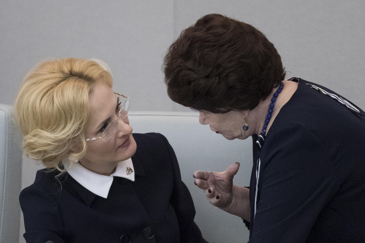 Deputy speaker of the state Duma Irina Yarovaya, left, and a member of the Communist Party faction Tamara Pletnyova talk before voting in the state Duma, the lower house of the Russian Parliament in Moscow, on Wednesday, Dec. 6, 2017. Pletnyova believes Russian women should not have sex with foreigners during the World Cup. (Photo: Pavel Golovkin/AP)