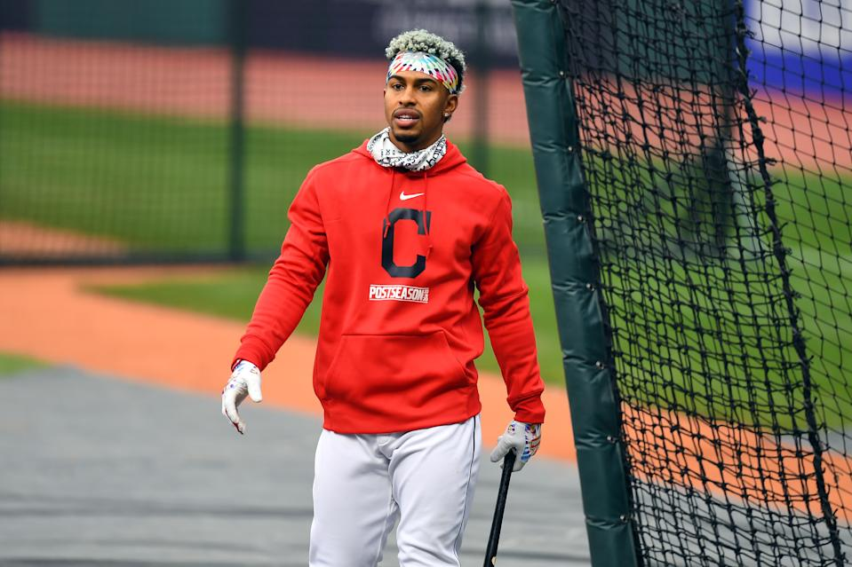 Francisco Lindor is the headliner of a six-player blockbuster trade between the Mets and Indians. (Photo by Joe Sargent/MLB Photos via Getty Images)