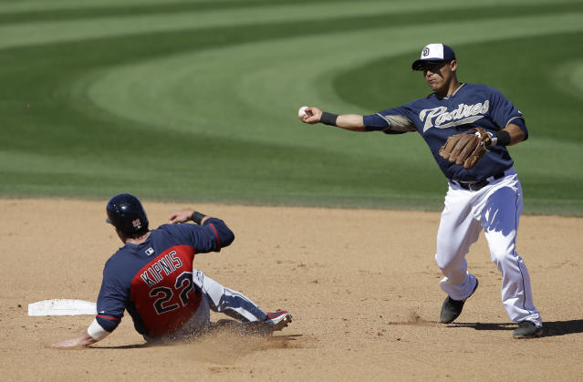 Cleveland Indians' Jason Kipnis is forced out at second as San Diego Padres' Everth Cabrera throws to first to complete the double play during the fifth inning on an exhibition spring training baseball game Saturday, March 8, 2014, in Peoria, Ariz. (AP Photo/Darron Cummings)