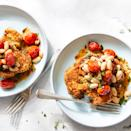 "<p>This Parmesan-crusted cauliflower makes a flavorful and hearty vegetarian main that is ready in under an hour. A generous amount of cooking spray helps the panko breadcrumb coating on these cauliflower steaks get nice and crispy. <a href=""https://www.eatingwell.com/recipe/7896613/parmesan-crusted-cauliflower-with-white-beans-tomatoes/"" rel=""nofollow noopener"" target=""_blank"" data-ylk=""slk:View recipe"" class=""link rapid-noclick-resp""> View recipe </a></p>"