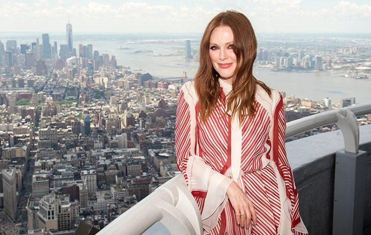 Julianne Moore lights the Empire State Building to honor National Gun Violence Awareness Day with Everytown for Gun Safety. (Photo: Empire State Building)