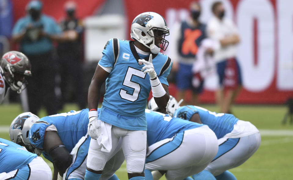 Carolina Panthers quarterback Teddy Bridgewater (5) leads his team into a Week 3 game against the Chargers. (AP Photo/Jason Behnken)