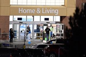Police investigate a shooting at a Walmart store in Thornton, Colorado, on Wednesday.