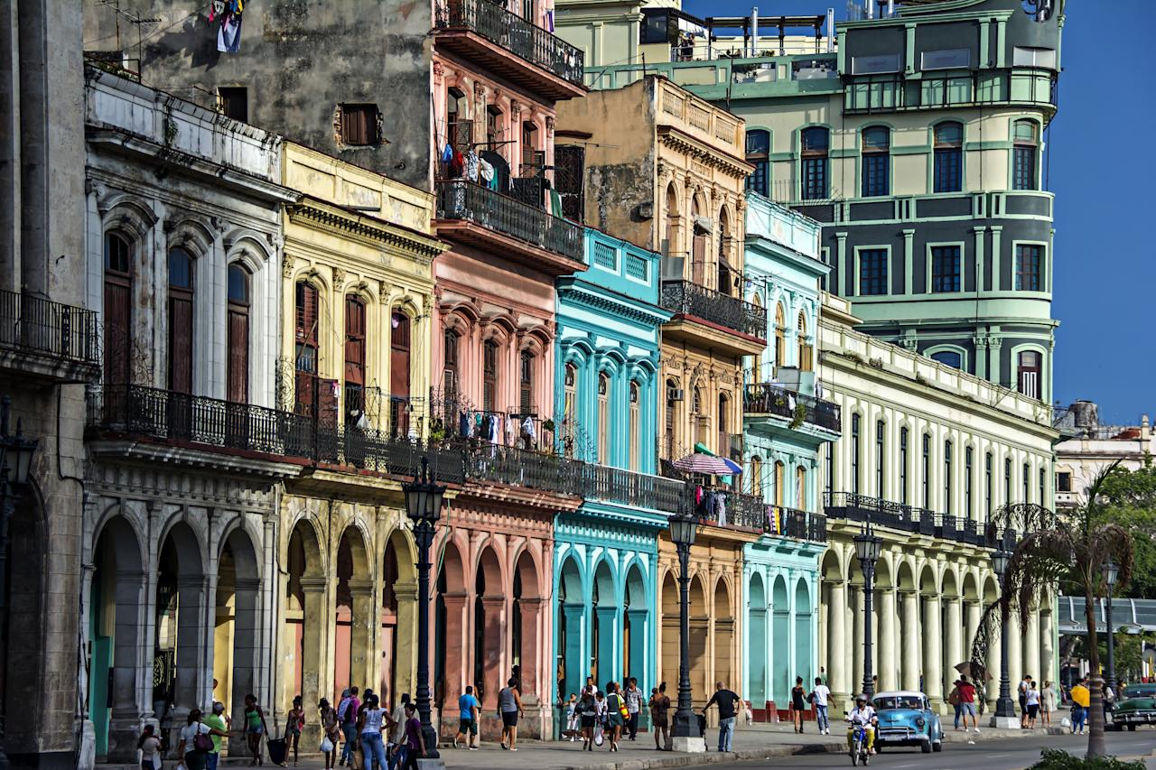 Now that visitor restrictions have loosened—and cruise ships dock in Havana overnight—it's time to check out Cuba. When you're not being chauffeured in a 1950s Chevy convertible painted in a vivid hue, stroll through Old Havana where the streets are equally as colorful and filled with examples of Cuban Baroque and Moorish buildings, a result of its founding by Spain in 1519.