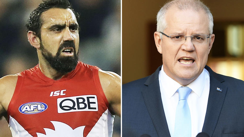 Adam Goodes and Scott Morrison, pictured here in the AFL and at parliament.