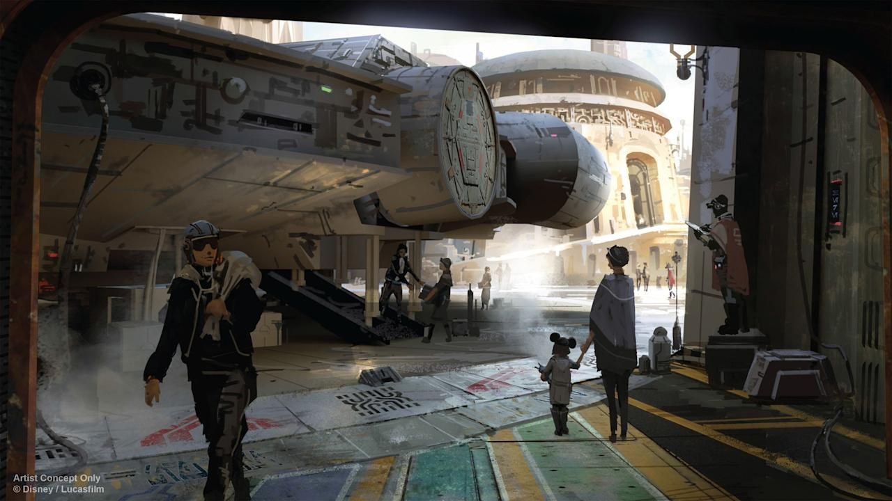 "<p>One of two rides in 'Star Wars' Land will be a Millennium Falcon simulator, giving you the chance ""to pilot the fastest hunk of junk in the galaxy."" (Disney Parks) </p>"