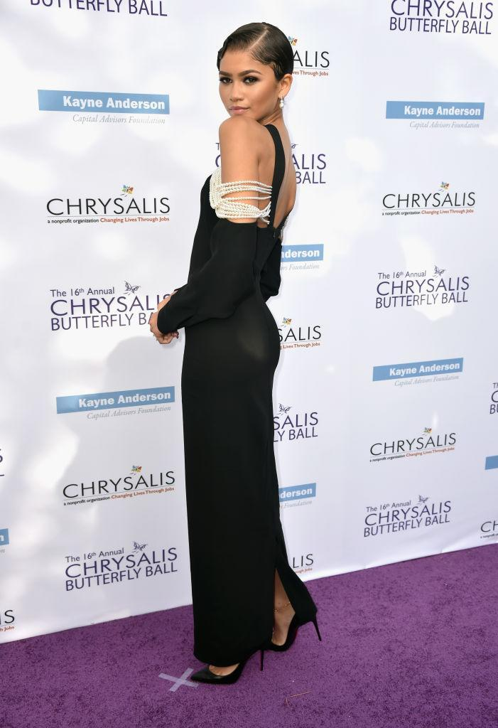 <p>Zendaya attended the 16 Annual Chrysalis Butterfly Ball in California wearing a cold-shoulder dress by Mario Dice. <em>[Photo: Getty]</em> </p>