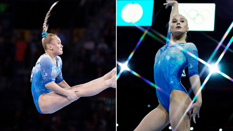 Angelina Melnikova, pictured here after her hair malfunction at the world championships.