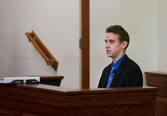 Jerome Kunkel, 18, takes the witness stand during his hearing in Boone County Circuit Court Monday, April 1, 2019. Jerome, a senior at Assumption Academy in Walton objected to the demand of public health officials for vaccinations against chickenpox when 32 students at his small Catholic school came down with the illness this year.