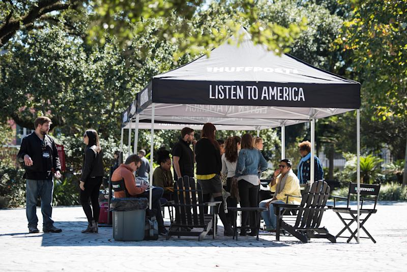 Peoplearrive atthe Listen to America tents during HuffPost's visit to New Orleans.