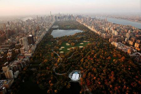FILE PHOTO: Central Park above the southern portion of the Manhattan borough of New York, U.S., November 2, 2016. REUTERS/Lucas JacksoN/File Photo