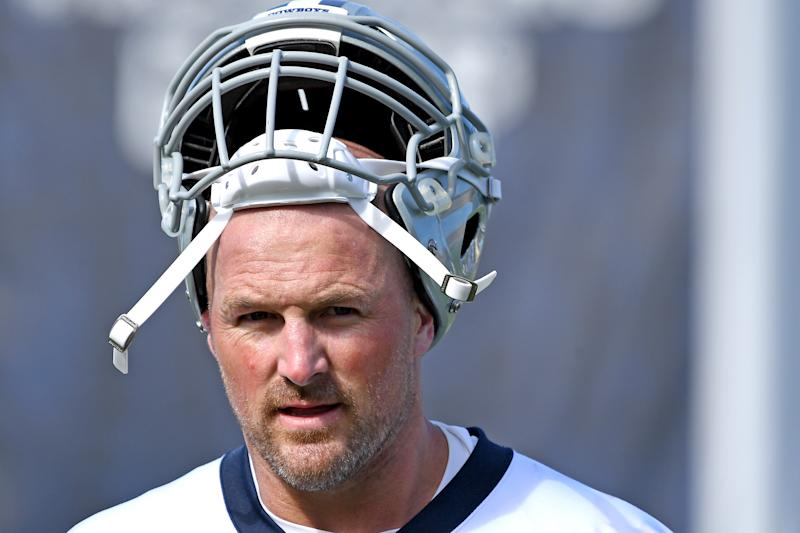 OXNARD, CA - JULY 28: Tight end Jason Witten #82 of the Dallas Cowboys takes a break during training camp drills on July 28, 2019 in Oxnard, California. (Photo by Jayne Kamin-Oncea/Getty Images)