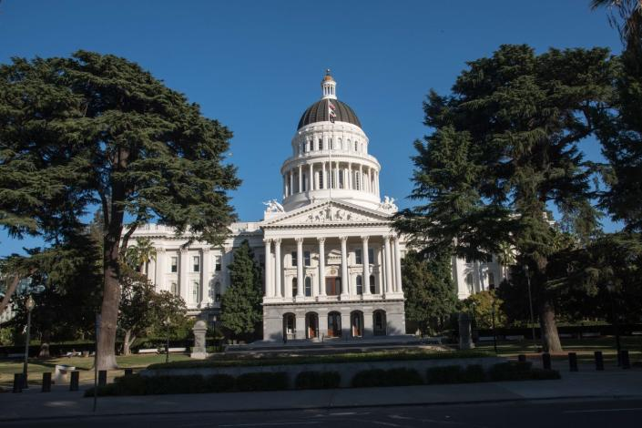 "<span class=""caption"">California often sets more stringent environmental policies than most other states.</span> <span class=""attribution""><a class=""link rapid-noclick-resp"" href=""https://www.gettyimages.com/detail/news-photo/state-capitol-building-sacramento-california-news-photo/661870070?adppopup=true"" rel=""nofollow noopener"" target=""_blank"" data-ylk=""slk:Education Images/Universal Images Group via Getty Images"">Education Images/Universal Images Group via Getty Images</a></span>"