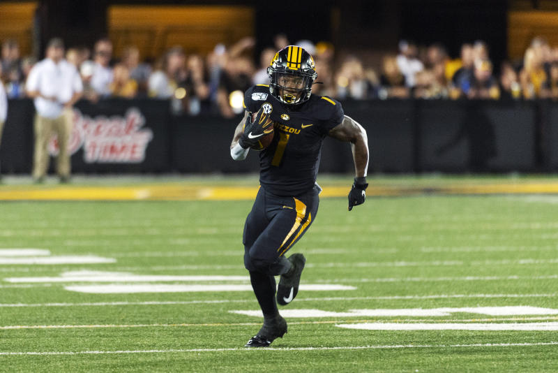 Missouri running back Tyler Badie runs the ball during the second quarter of an NCAA college football game against Southeast Missouri State, Saturday, Sept. 14, 2019, in Columbia, Mo. (AP Photo/L.G. Patterson)