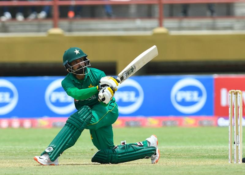 Mohammad Hafeez of Pakistan hits 4 during the 1st ODI match between West Indies and Pakistan at Guyana National Stadium, Providence, Guyana on April 7, 2017 (AFP Photo/Randy BROOKS)