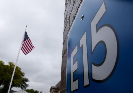 FILE PHOTO: A sign advertising E15, a gasoline with 15 percent of ethanol, is seen at a gas station in Clive, Iowa, United States, May 17, 2015. REUTERS/Jim Young/File Photo