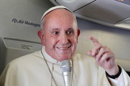 Pope Francis addresses journalists during his flight from Antananarivo to Rome