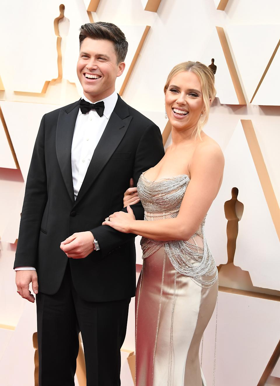 HOLLYWOOD, CALIFORNIA - FEBRUARY 09: Colin Jost and Scarlett Johansson arrives at the 92nd Annual Academy Awards at Hollywood and Highland on February 09, 2020 in Hollywood, California. (Photo by Steve Granitz/WireImage)