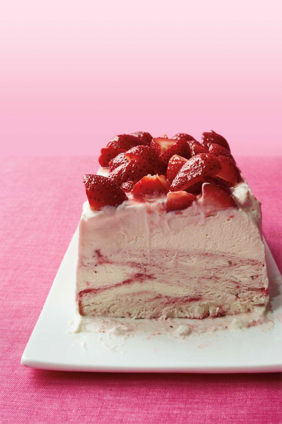 """<p>This 6-ingredient treat is made in a loaf pan and only takes about an hour from start to finish — easiest cheesecake ever!</p><p><em><a href=""""https://www.womansday.com/food-recipes/food-drinks/recipes/a11347/strawberry-ice-cream-cheesecake-recipe-wdy0812/"""" rel=""""nofollow noopener"""" target=""""_blank"""" data-ylk=""""slk:Get the recipe from Woman's Day »"""" class=""""link rapid-noclick-resp"""">Get the recipe from Woman's Day »</a></em></p>"""